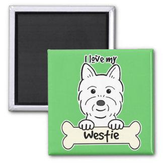 Amo mi Westie Imán Cuadrado