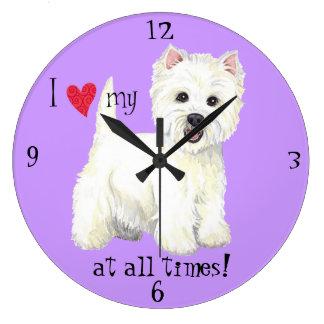 Amo mi Westie Reloj Redondo Grande