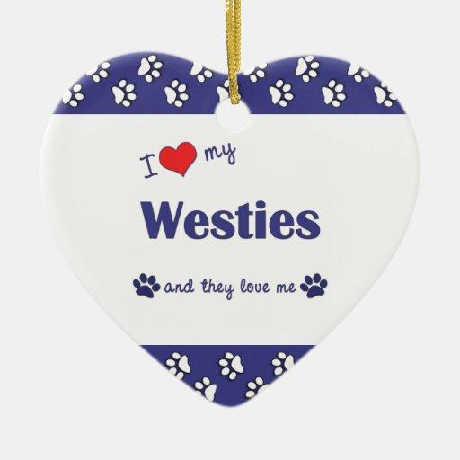 Amo mi Westies (los perros múltiples) Adorno De Cerámica En Forma De Corazón