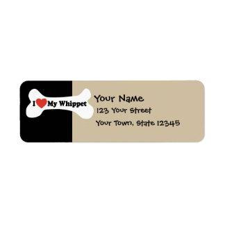 Amo mi Whippet - hueso de perro Etiquetas De Remite