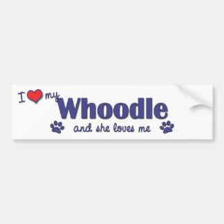 Amo mi Whoodle (el perro femenino) Pegatina Para Auto