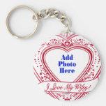 ¡Amo mi Wifey! - Corazones del rojo de la foto Llaveros Personalizados