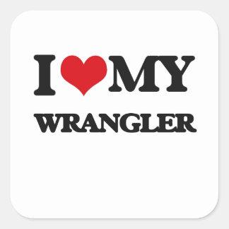 Amo mi Wrangler Calcomania Cuadradas Personalizadas