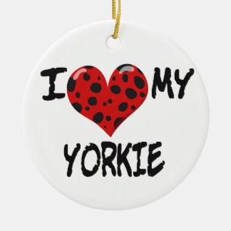 Amo mi Yorkie Adorno Redondo De Cerámica
