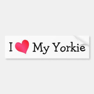 Amo mi Yorkie Etiqueta De Parachoque