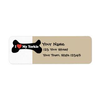 Amo mi Yorkie - hueso de perro Etiqueta De Remite