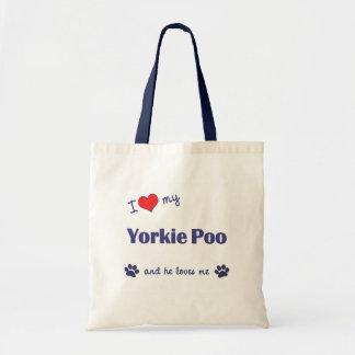 Amo mi Yorkie Poo (el perro masculino) Bolsa Tela Barata