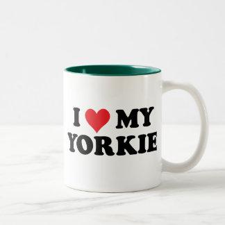Amo mi Yorkie Taza Dos Tonos
