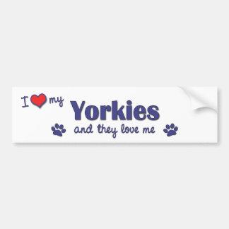 Amo mi Yorkies (los perros múltiples) Pegatina Para Auto