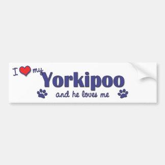Amo mi Yorkipoo (el perro masculino) Pegatina Para Auto