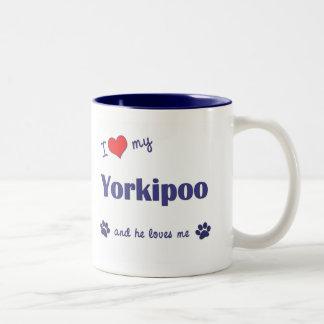 Amo mi Yorkipoo (el perro masculino) Taza De Dos Tonos
