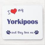 Amo mi Yorkipoos (los perros múltiples) Tapete De Ratones