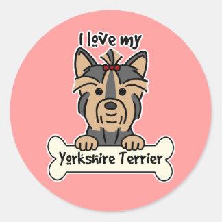 Amo mi Yorkshire Terrier Pegatina Redonda