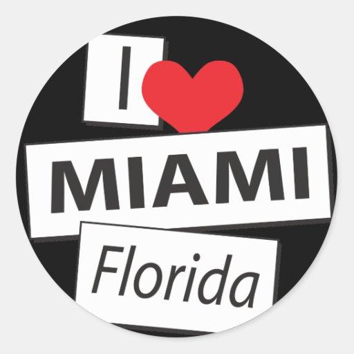 Amo Miami la Florida Pegatina Redonda