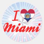 Amo Miami, Missouri Pegatinas Redondas