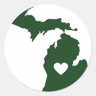 Amo Michigan Pegatinas Redondas