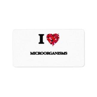 Amo microorganismos etiqueta de dirección
