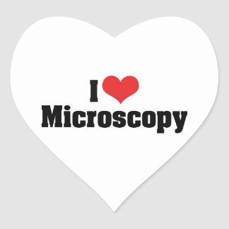 Amo microscopia pegatina en forma de corazón