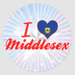 Amo Middlesex, Vermont Pegatinas Redondas