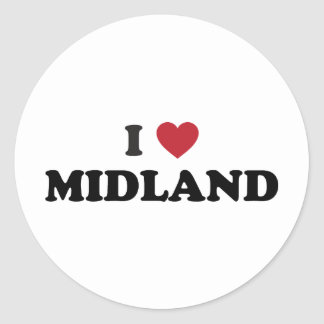 Amo Midland Tejas Etiqueta Redonda