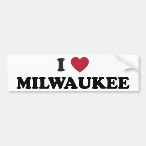 Amo Milwaukee Wisconsin Etiqueta De Parachoque