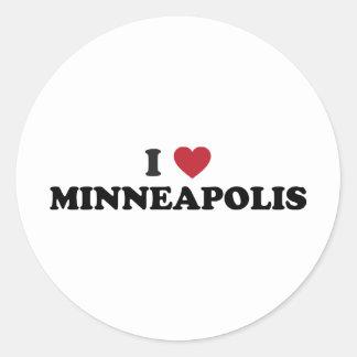 Amo Minneapolis Minnesota Pegatina Redonda