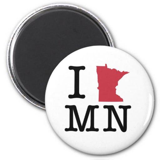 Amo Minnesota Imán Redondo 5 Cm