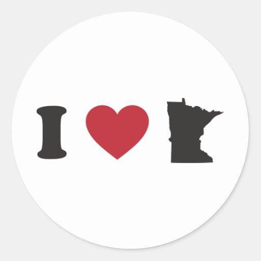 Amo Minnesota Pegatina Redonda