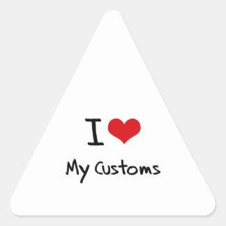 Amo mis aduanas calcomanías triangulos personalizadas