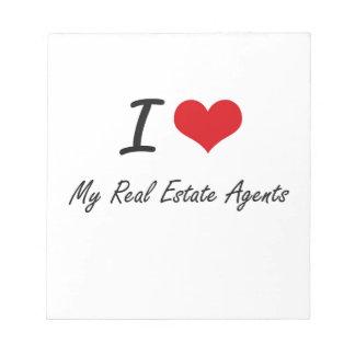 Amo mis agentes inmobiliarios blocs de papel