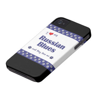 Amo mis azules rusos (los gatos múltiples) iPhone 4 Case-Mate carcasa
