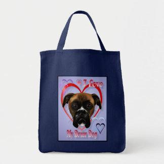 Amo mis bolsos del perro del boxeador bolsa tela para la compra