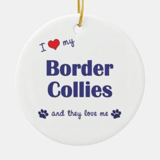 Amo mis borderes collies (los perros múltiples) adorno redondo de cerámica