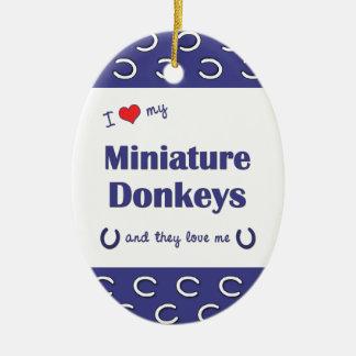 Amo mis burros miniatura (los burros múltiples) ornaments para arbol de navidad