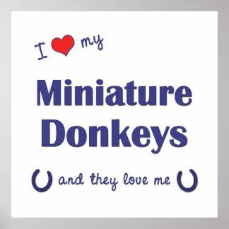 Amo mis burros miniatura (los burros múltiples) impresiones