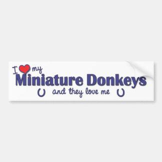 Amo mis burros miniatura (los burros múltiples) pegatina para auto