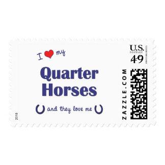 Amo mis caballos cuartos (los caballos múltiples) sello