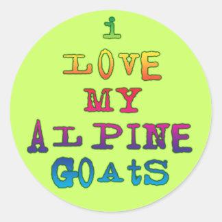 Amo mis cabras alpinas etiquetas redondas