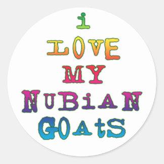 Amo mis cabras de Nubian Etiquetas Redondas