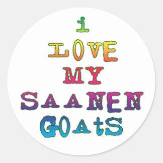 Amo mis cabras de Saanen Etiquetas Redondas