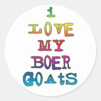 Amo mis cabras del Boer Pegatinas Redondas