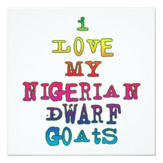 Amo mis cabras enanas nigerianas invitación 13,3 cm x 13,3cm