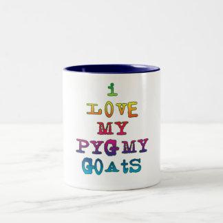 Amo mis cabras enanas taza de dos tonos