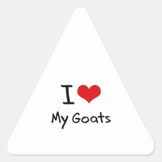 Amo mis cabras calcomanía triangulo personalizadas