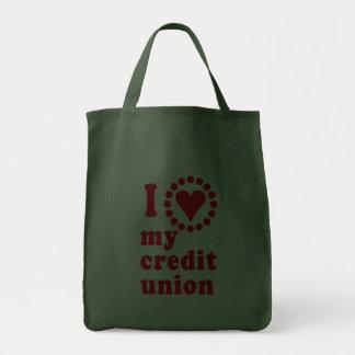 Amo mis camisetas de Credit Union Bolsa