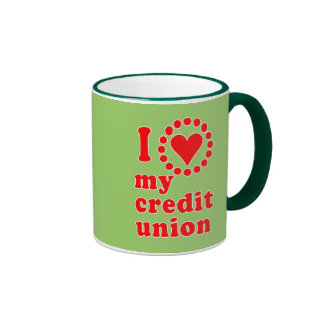 Amo mis camisetas de Credit Union Tazas De Café