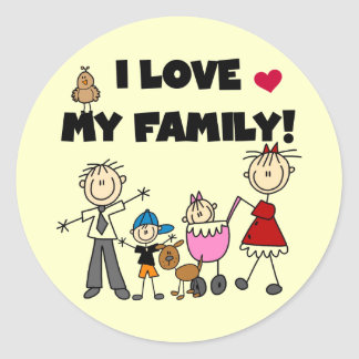 Amo mis camisetas y los regalos de la familia etiqueta redonda