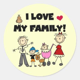 Amo mis camisetas y los regalos de la familia pegatina redonda
