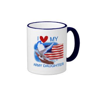 Amo mis camisetas y regalos de la hija del ejércit taza de café
