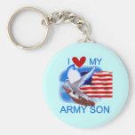 Amo mis camisetas y regalos del hijo del ejército llavero